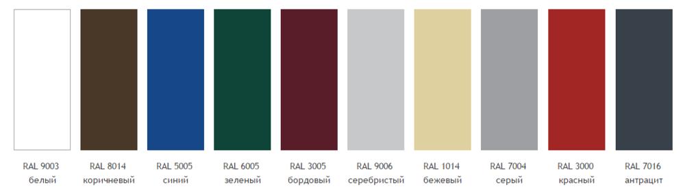 Стандартные цвета из RAL-каталога для гаражных ворот